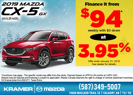 Finance a 2019 Mazda CX-5 GX starting as low as $94 weekly with NO cash down!